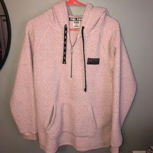 PINK sherpa quarter zip hoodie